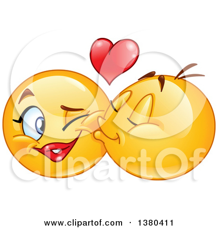 Clipart of a Yellow Cartoon Emoticon Smiley Face Emoji Kissing a.