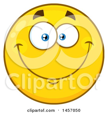 Clipart of a Cartoon Smiling Yellow Emoji Smiley Face.