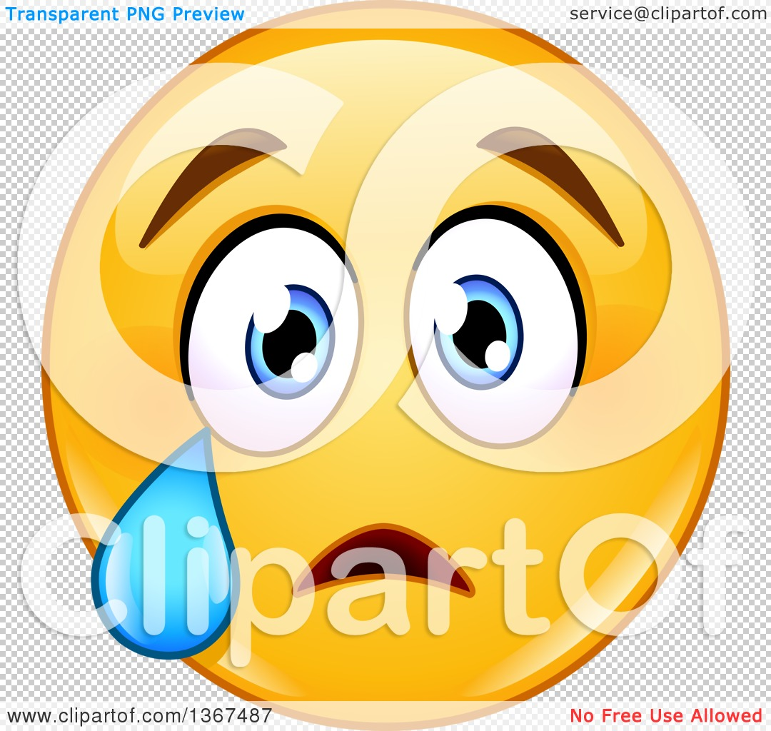 Clipart of a Cartoon Yellow Smiley Face Emoticon Emoji Crying.