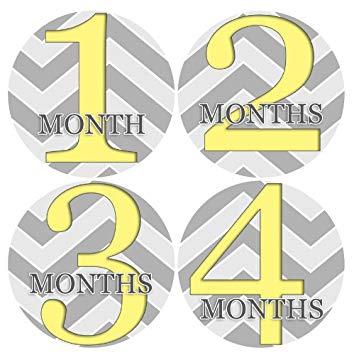 Amazon.com : ZIG ZAG YELLOW GREY CHEVRON Baby Month Onesie.