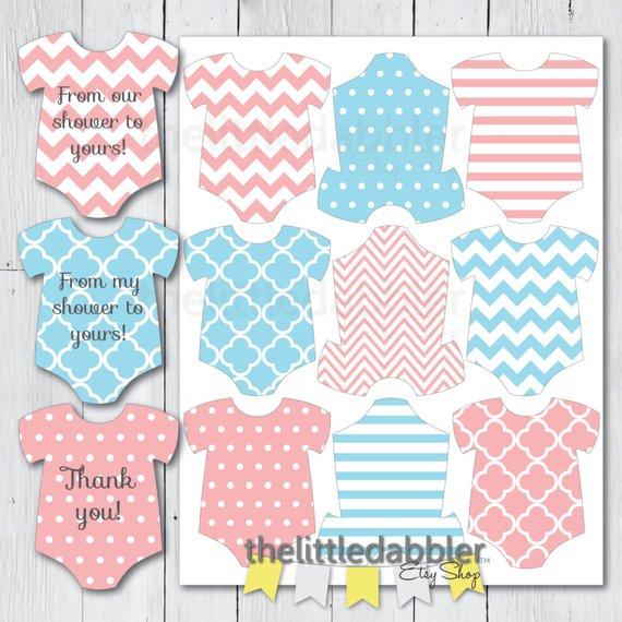 Printable Pink Blue Gender Reveal Baby Shower Mini Onesie.