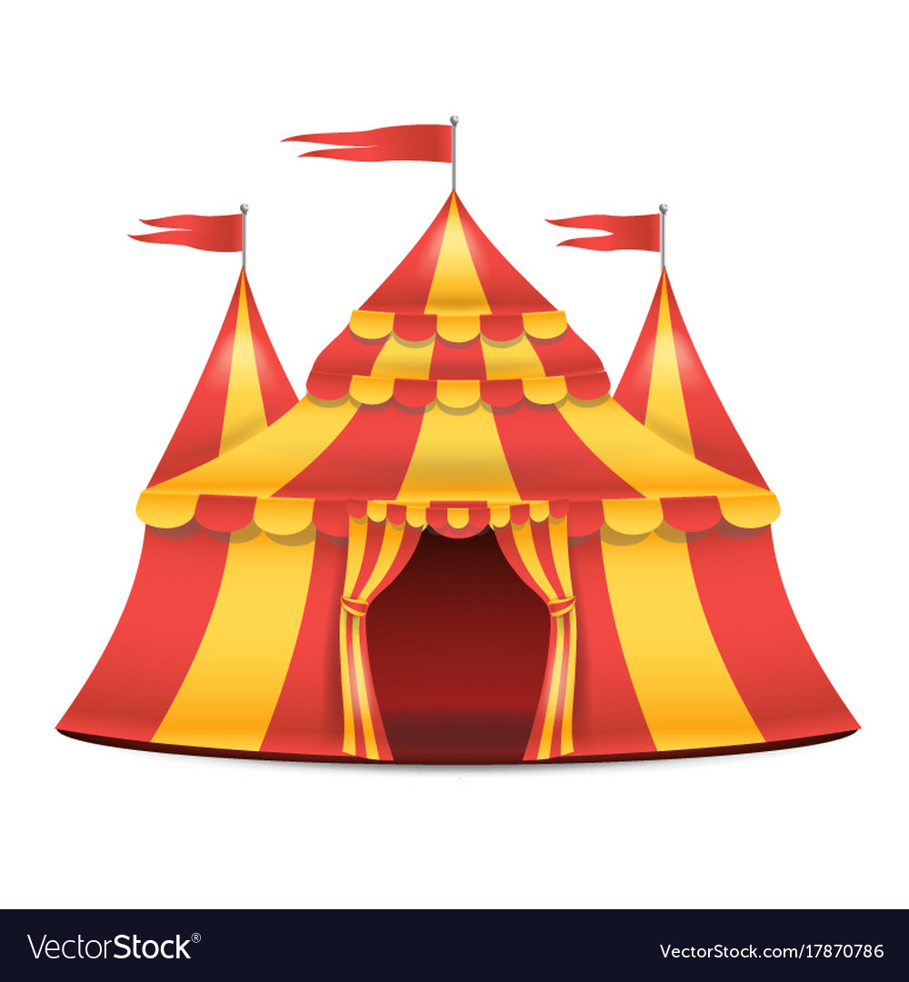 Realistic circus tent red and yellow.