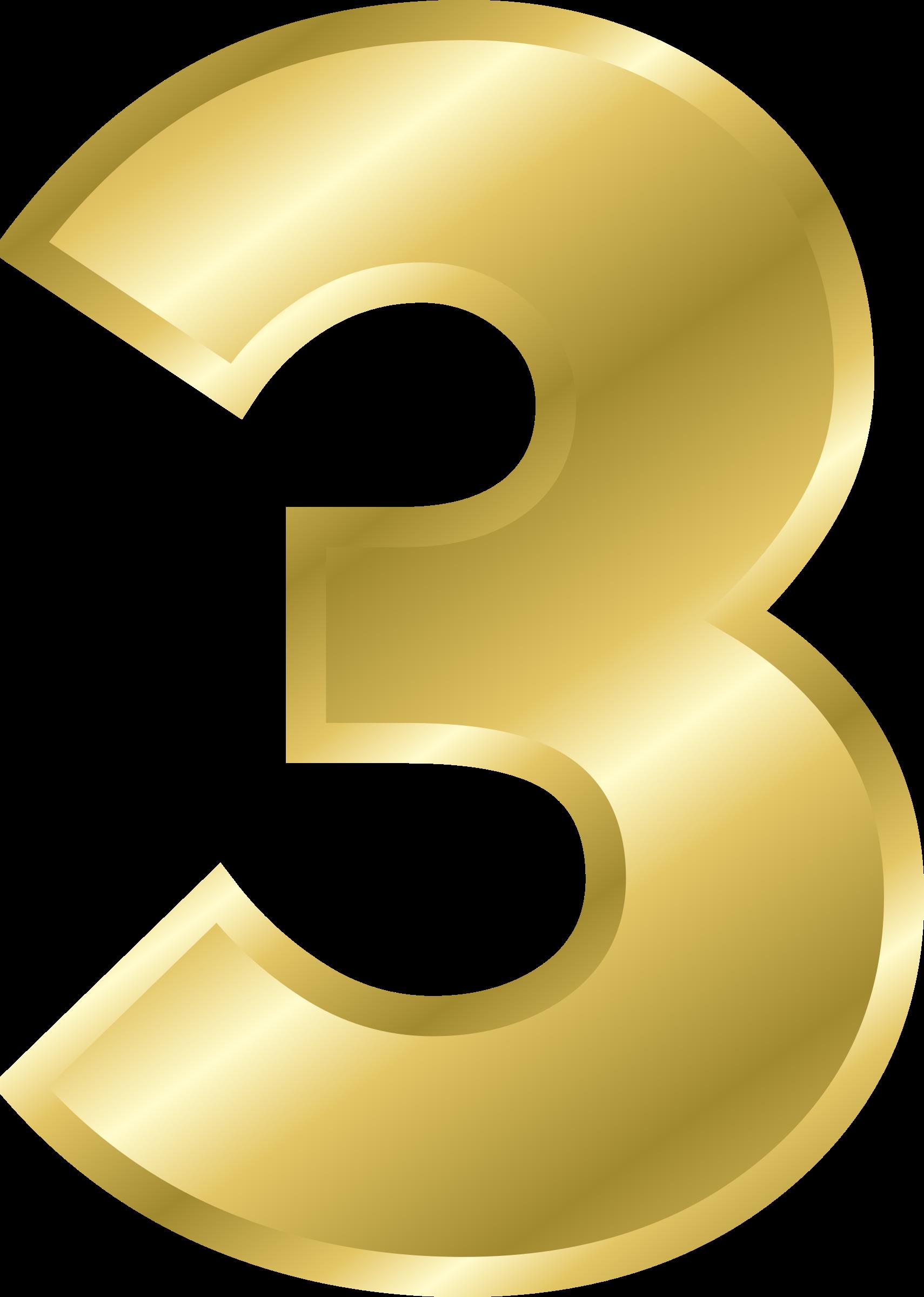 Number 3 clipart gold, Number 3 gold Transparent FREE for.