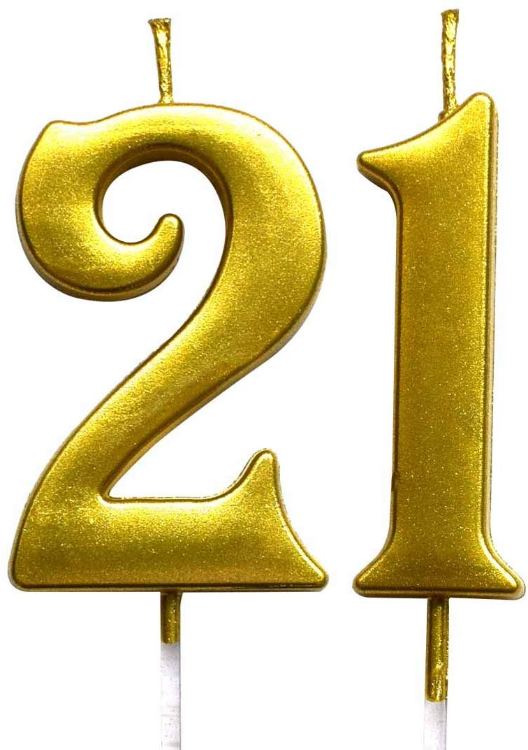 MAGJUCHE Gold 21st Birthday Numeral Candle, Number 21 Cake Topper Candles  Party Decoration for Girl Or Boy.
