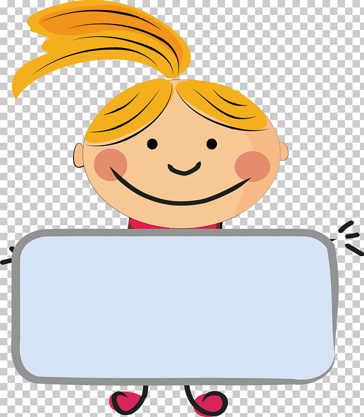 Drawing , Kids placards , yellow haired girl illustration.
