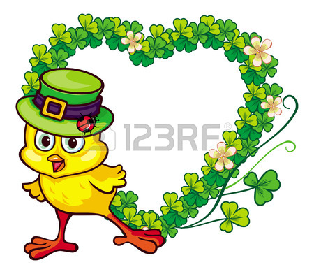 Frame With Funny Yellow Chick In Green Hat And Clover.Vector.