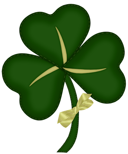 St Patrick Shamrock with Yellow Bow PNG Picture.