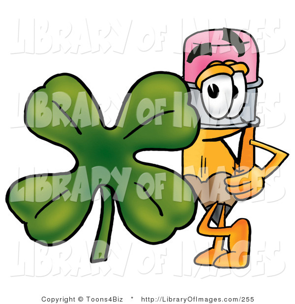 Clip Art of a Yellow Pencil Mascot Cartoon Character with a Green.