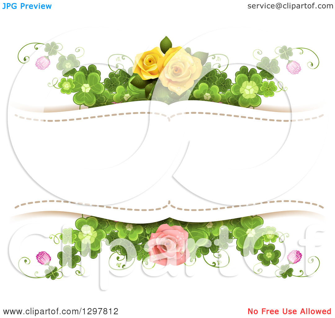 Clipart of a Floral Yellow and Pink Rose and Shamrock Clover.