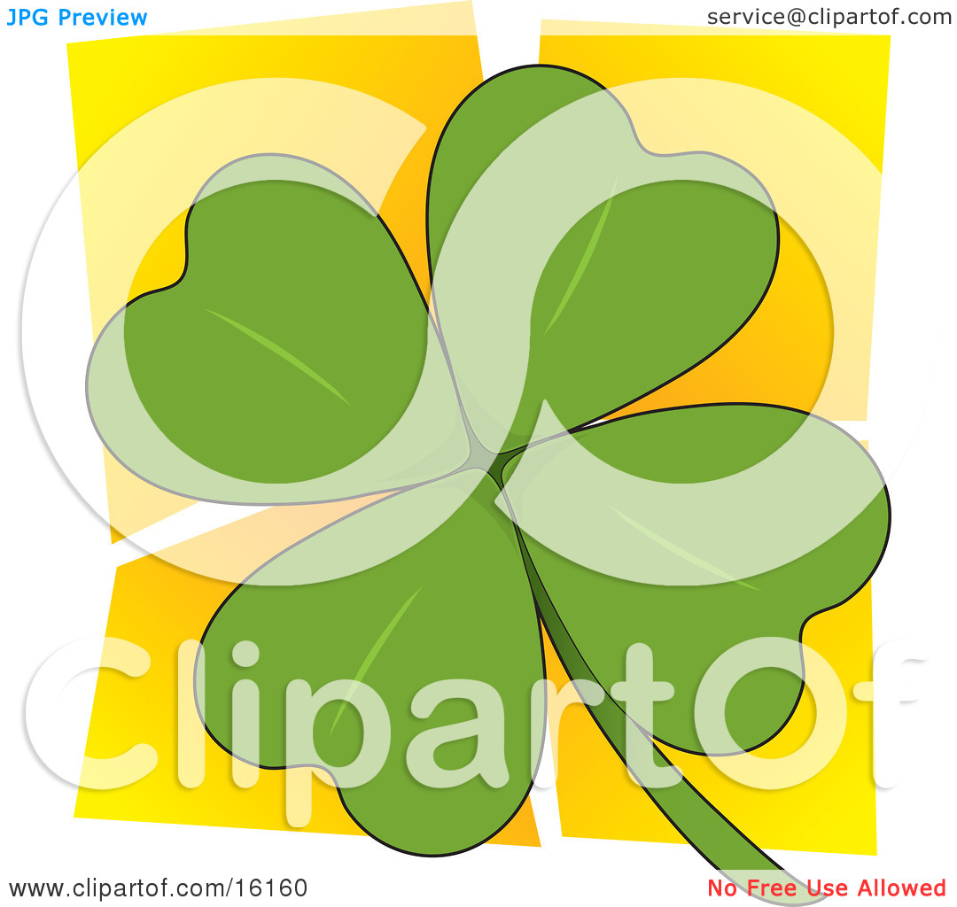 Green Four Leaved Clover Over A Yellow Background, A Popular.