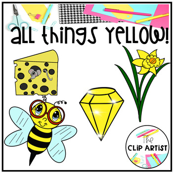 Yellow Color Objects Clip Art.