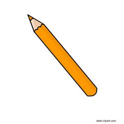 Orange color pencil, clipart.