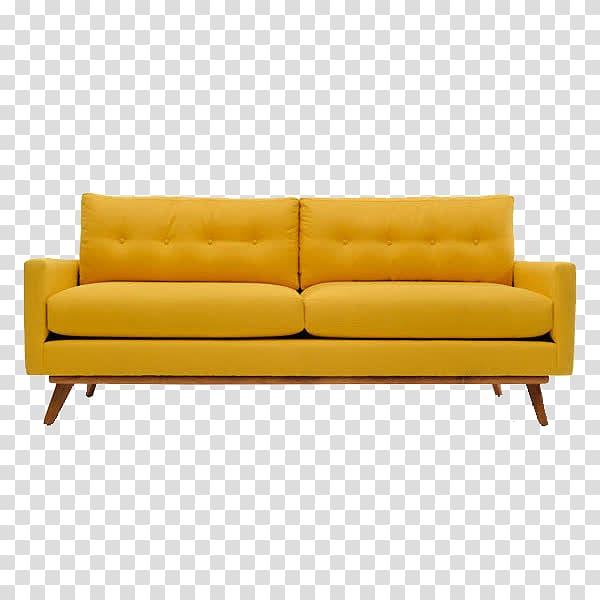Tufted yellow padded couch with brown wooden frame, Couch.