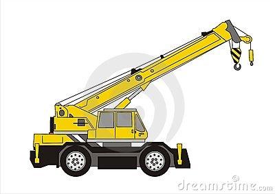 Yellow Truck Crane Stock Illustrations.