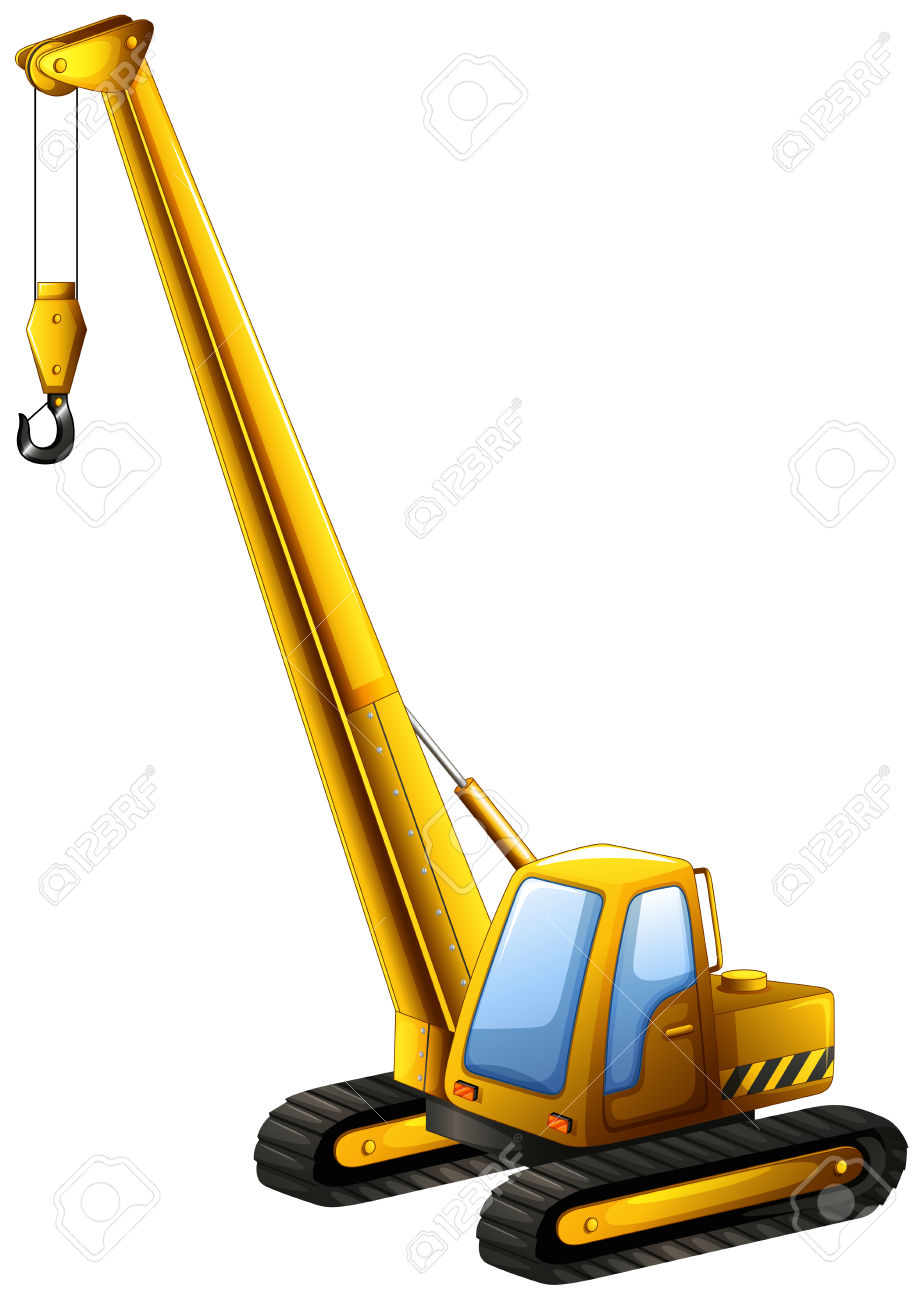 Close Up Yellow Crane Truck With Hook Hanging Royalty Free.