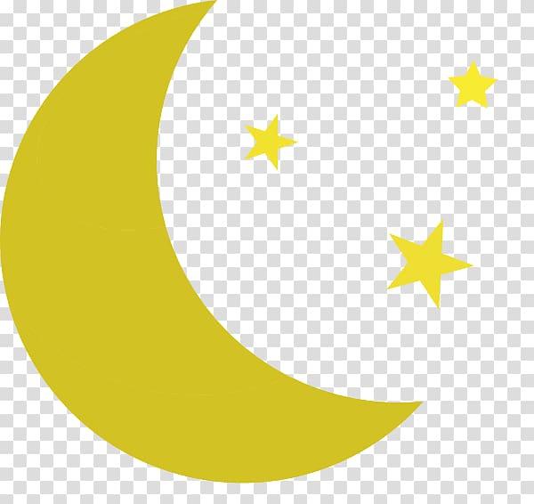 Yellow moon and stars illustration, Yellow Area Pattern, Crescent.