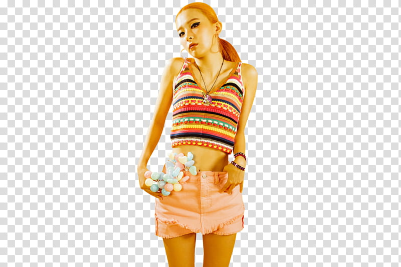 Red Velvet, woman wearing multicolored striped crop top and.