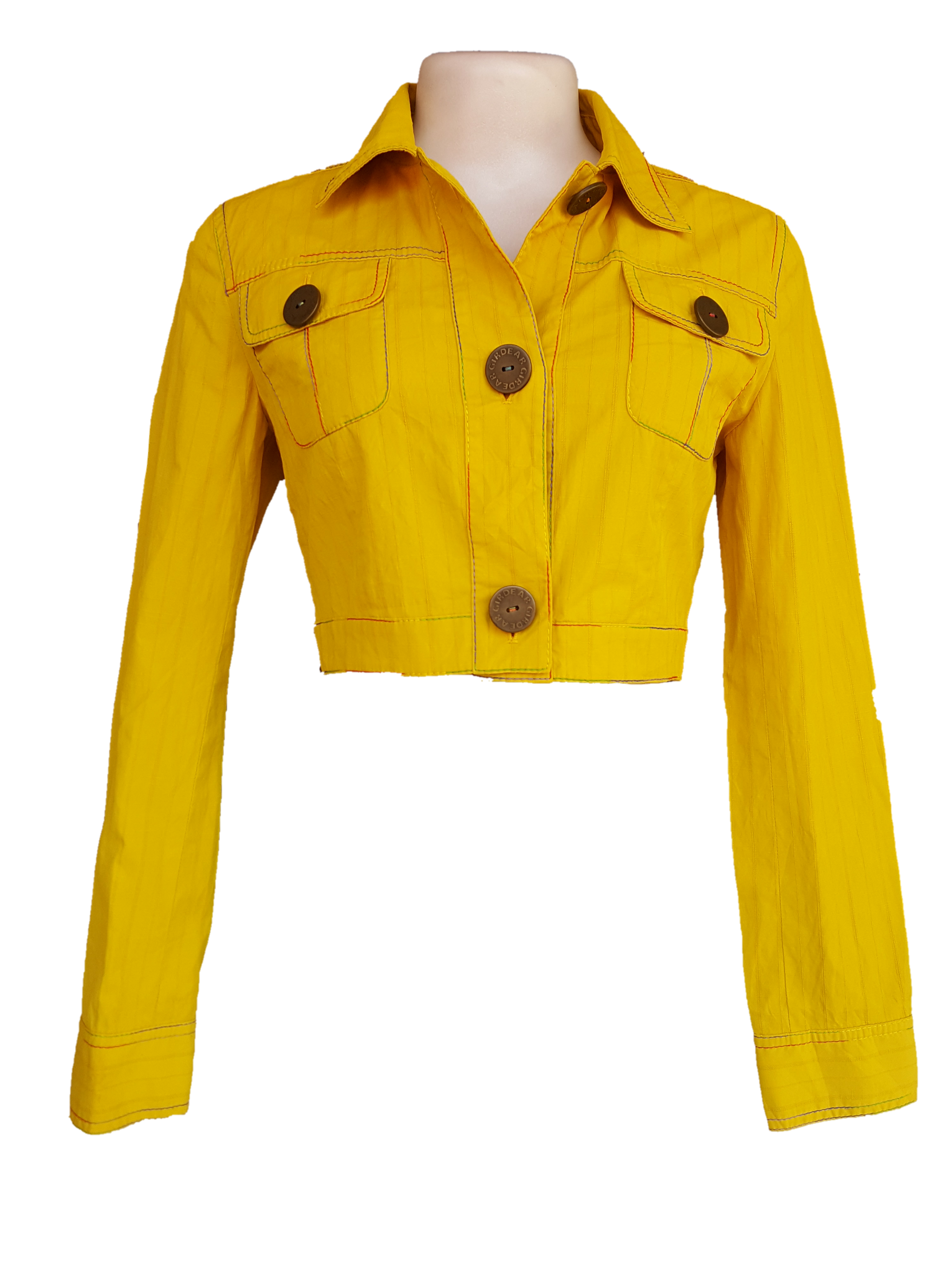 Yellow crop top jacket.