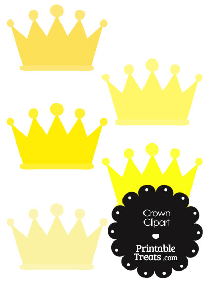 Crown Clipart in Shades of Yellow — Printable Treats.com.