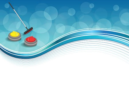 Background abstract curling sport blue ice red yellow stone.