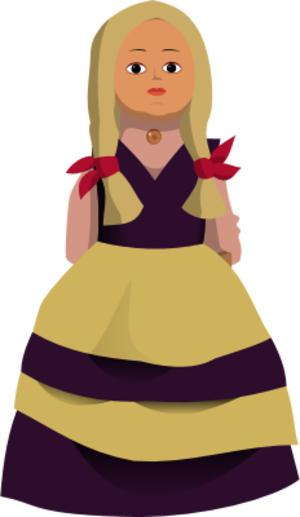 Doll with yellow dress clipart.