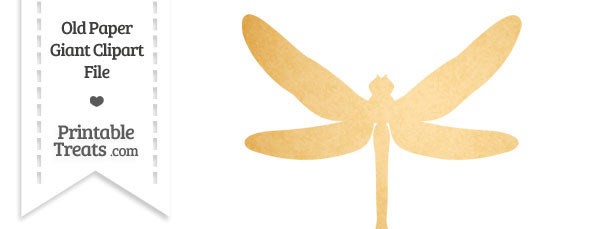 Old Paper Giant Dragonfly Clipart — Printable Treats.com.