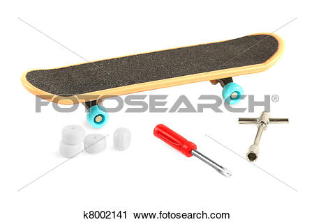 Stock Photography of Black skateboard with yellow edge and blue.