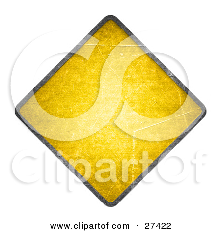 Clipart Illustration of a Blank Yellow Warning Sign With Rivet.