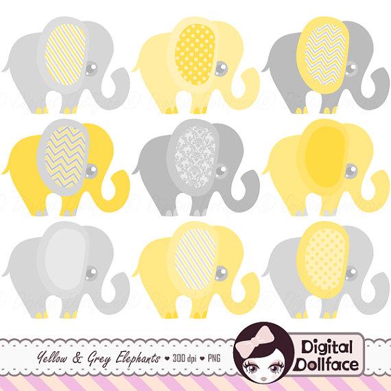 Yellow Elephant Clipart.