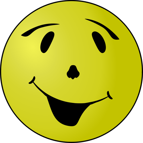 Vector clip art of grinning yellow smiley.