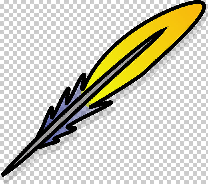 Paper Quill Pen Inkwell , Yellow feathers PNG clipart.