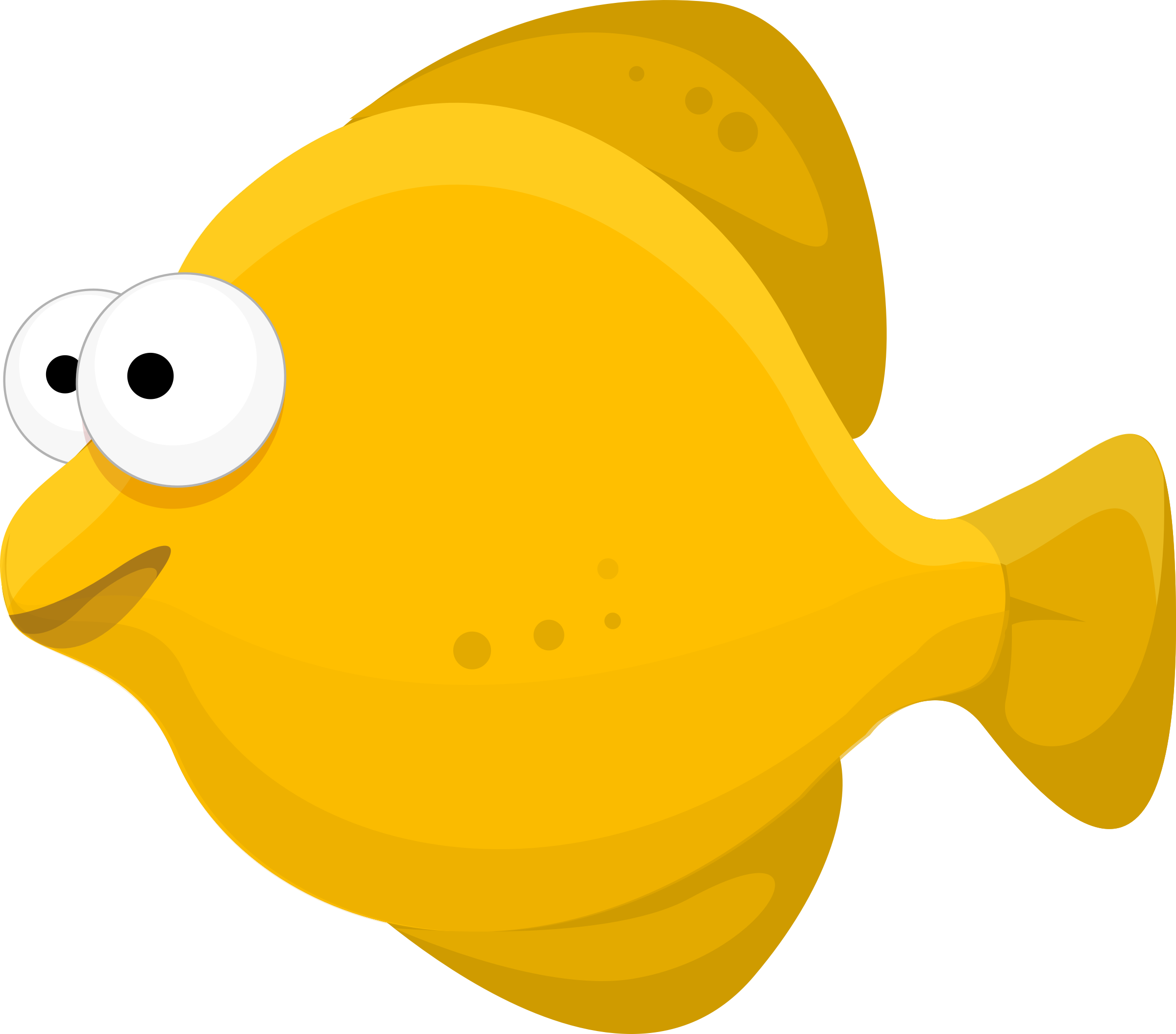 Yellow Fish Cartoon Vector Clipart image.