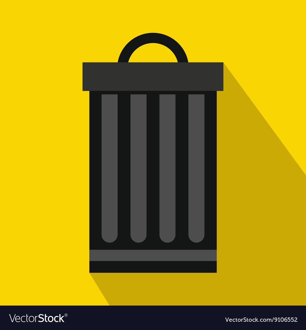 Iron trash can icon flat style.