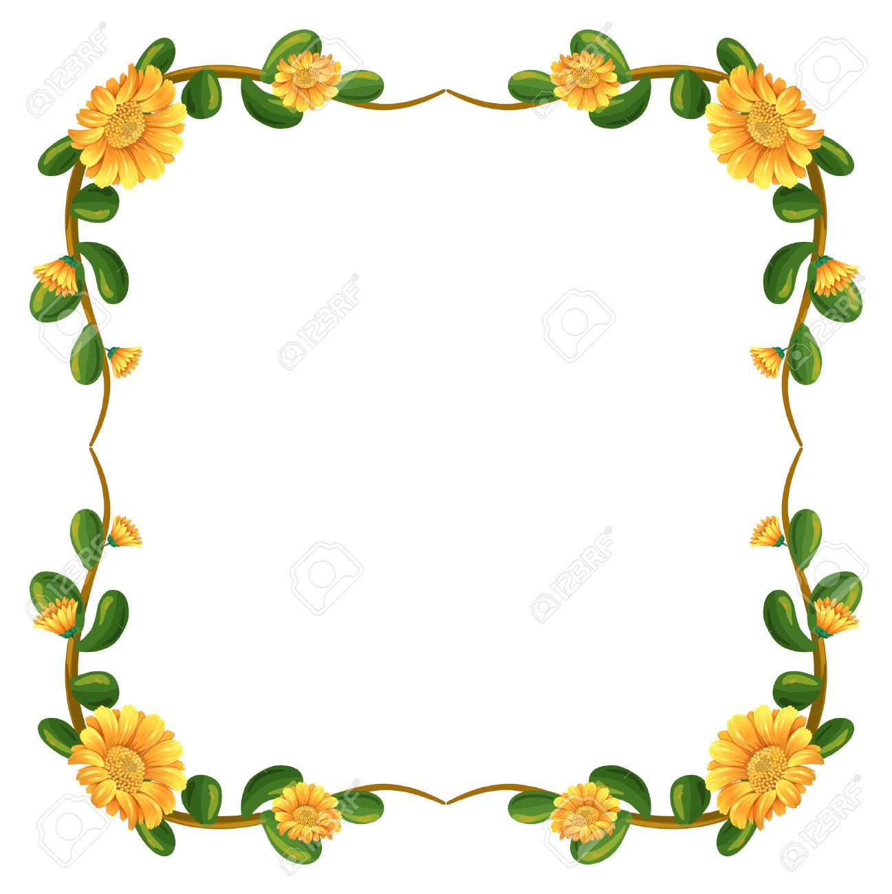 Illustration of a floral border with yellow flowers on a white...
