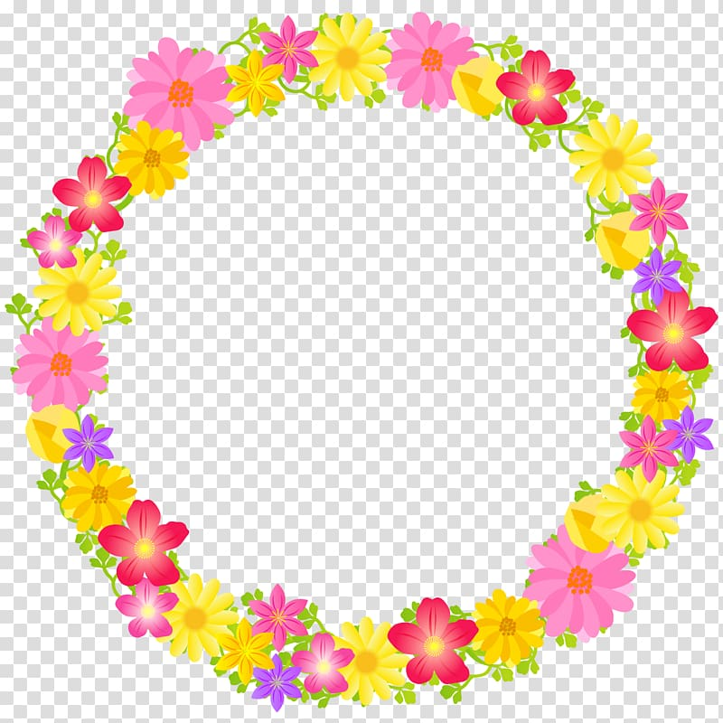Yellow, pink, and red floral frame, floral flower circle.