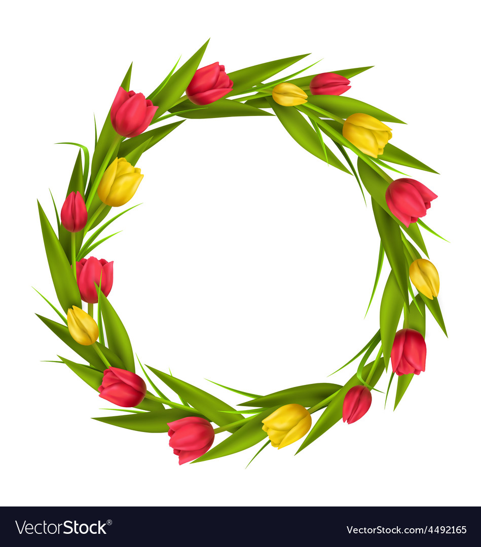 Circle frame with tulips red and yellow flowers.