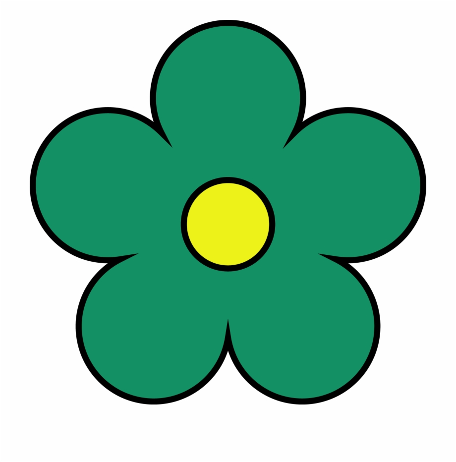 Outside Sea Green Inside Yellow Flower Png Clipart.