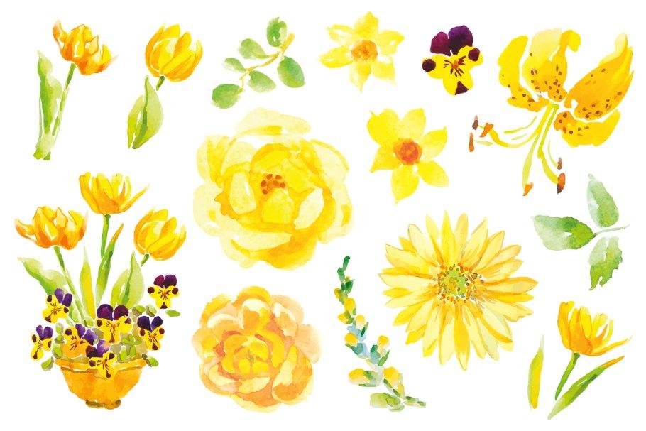 Yellow flowers clip art.