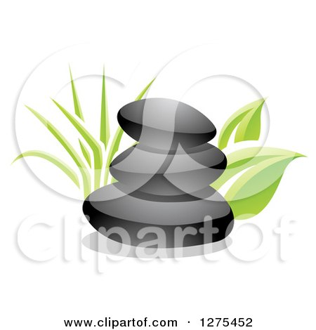 Clipart Black Hot Massage Stones And Yellow Frangipani Flowers.