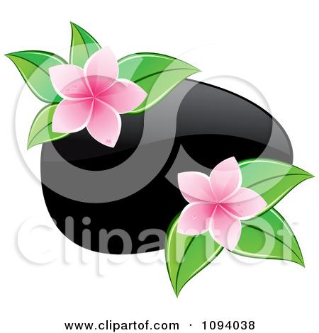 Clipart Black Hot Massage Stones And Yellow Frangipani Flowers.