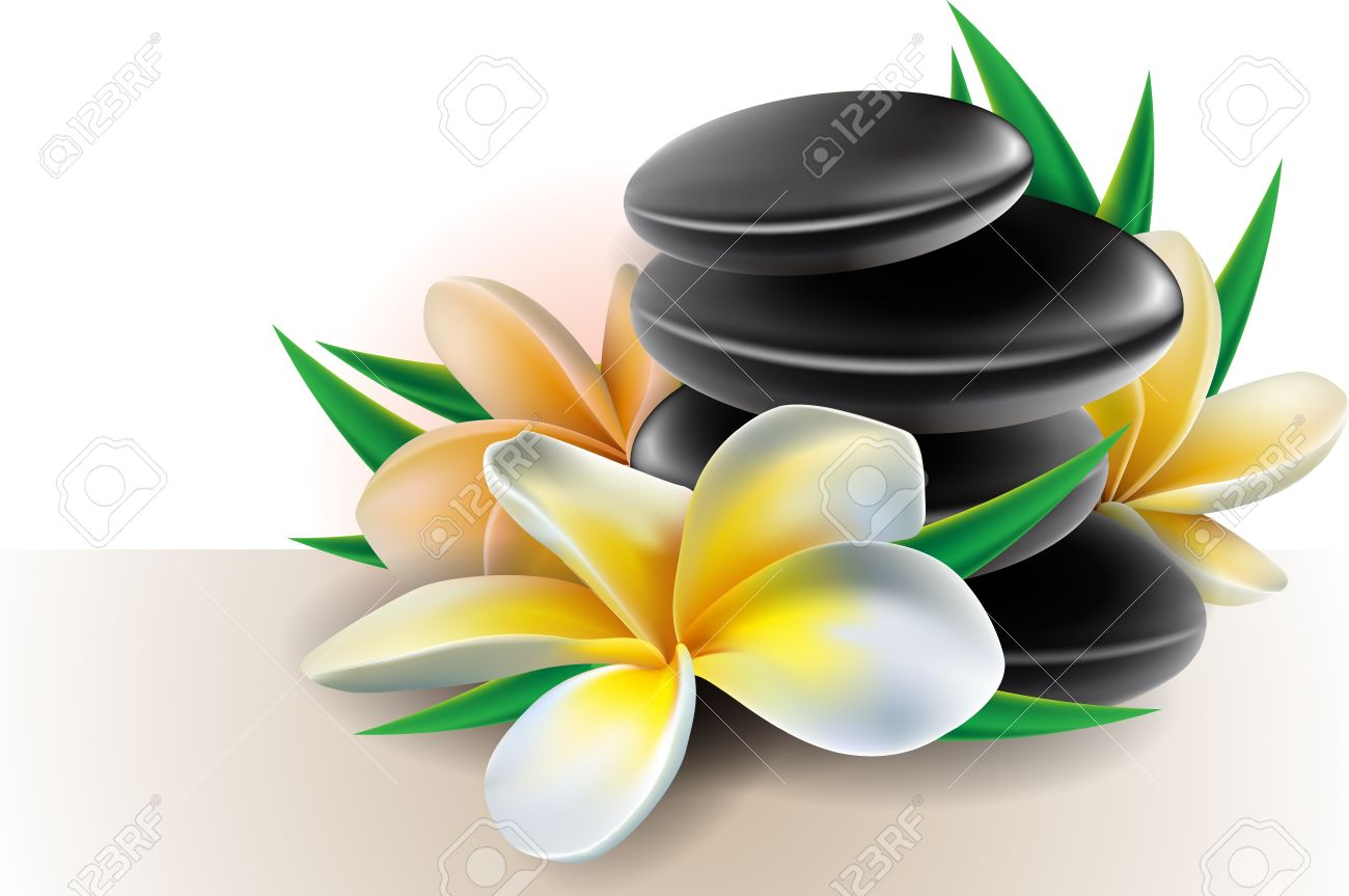 Spa Concept Zen Stones With Frangipani Flowers Royalty Free.