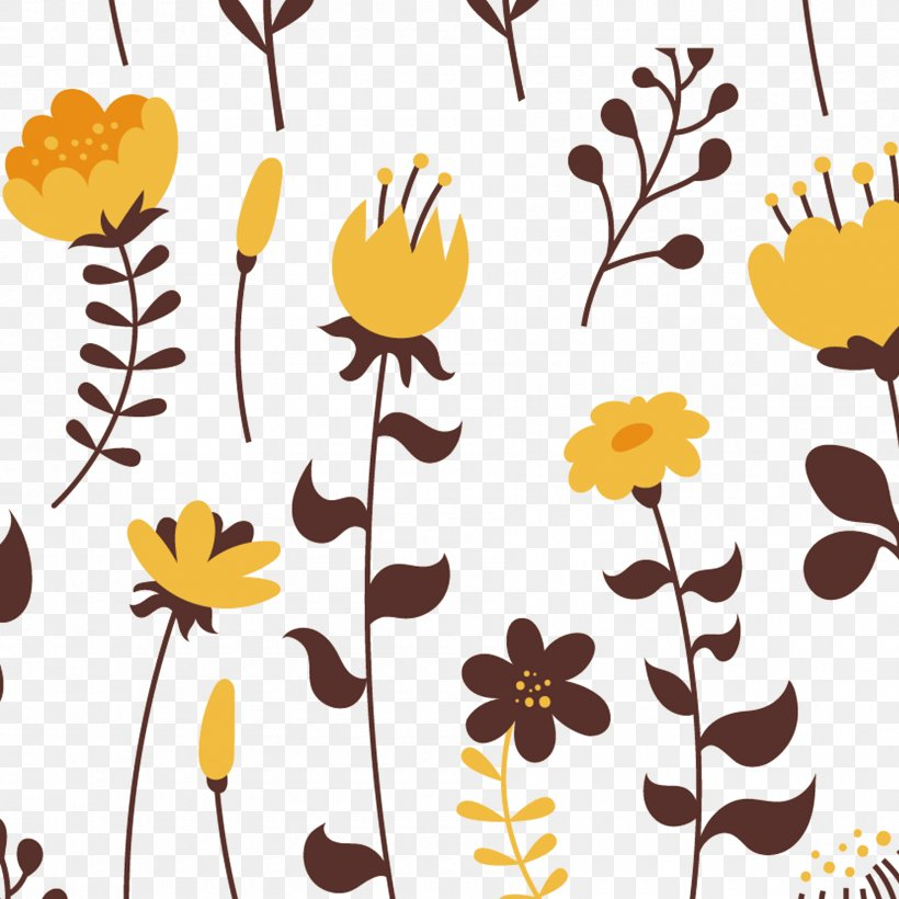 Floral Design Yellow Flower Euclidean Vector, PNG.