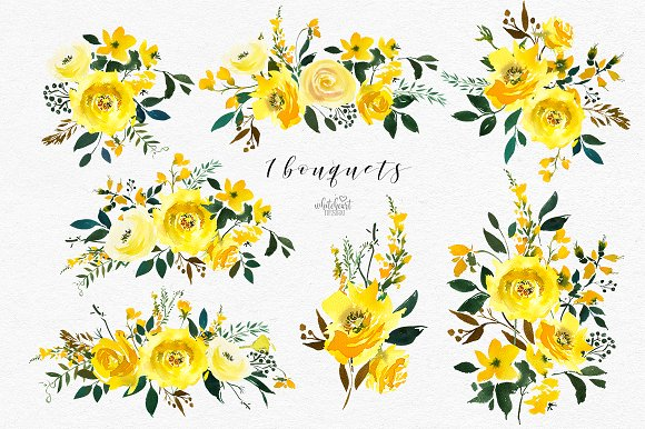Majestic Jaune Watercolor Florals.