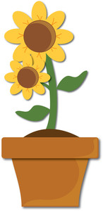 yellow flowers growing clipart #3