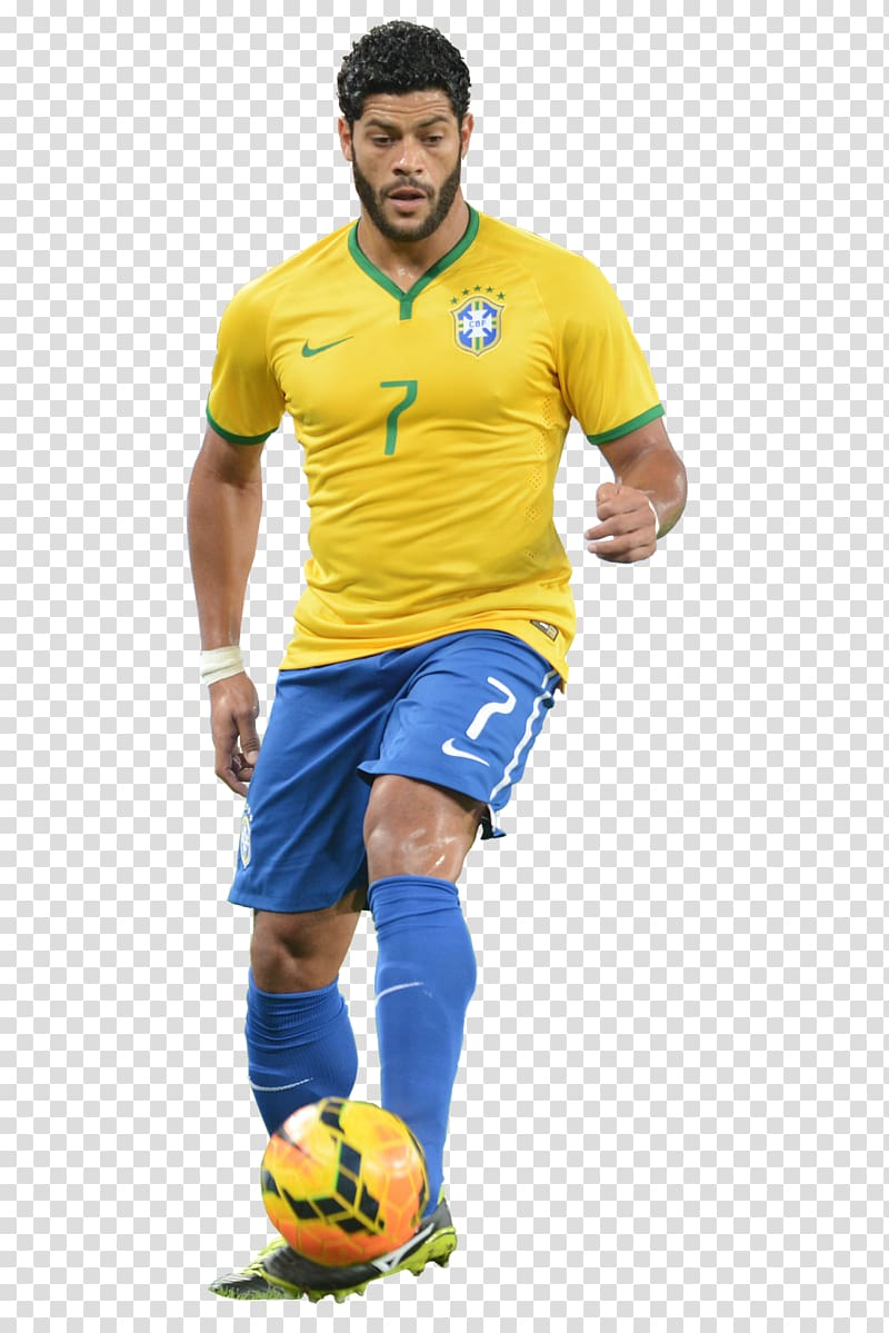 Soccer player wearing yellow Nike 7 jersey shirt, Hulk 2014.