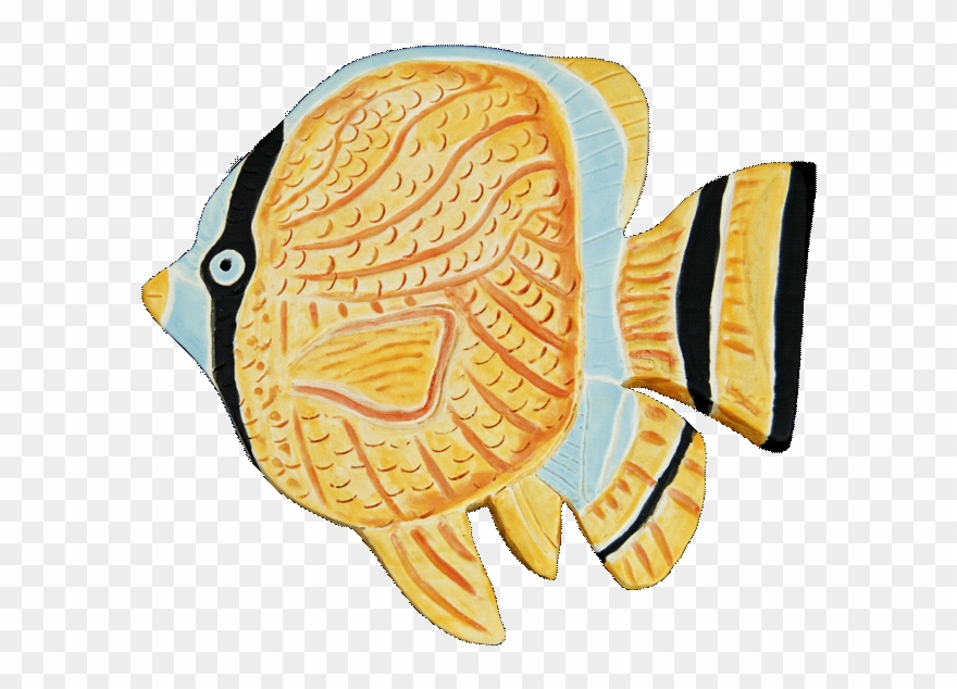 Small Free Form Ceramic Tile Of Tropical Fish In Yellow.