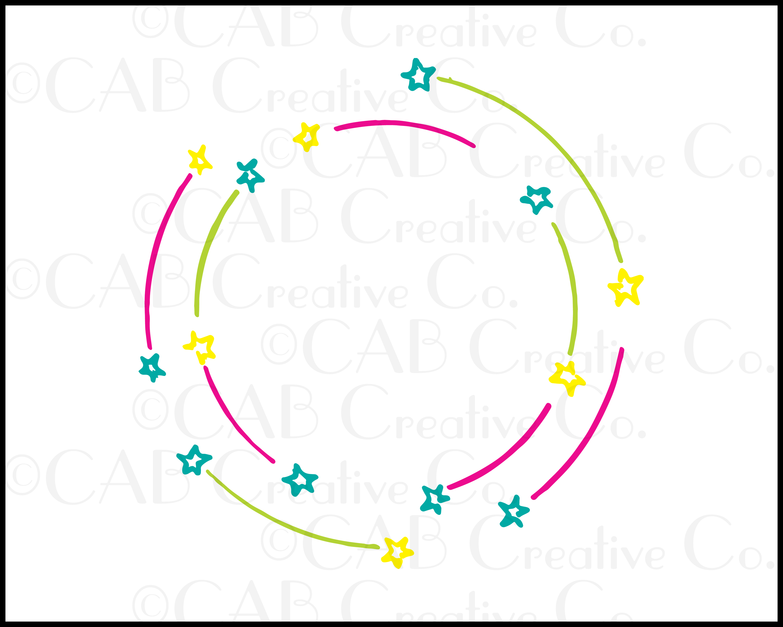 Orbit Stars Frame Clip Art, Stars, Circles, Frames Clip Art.