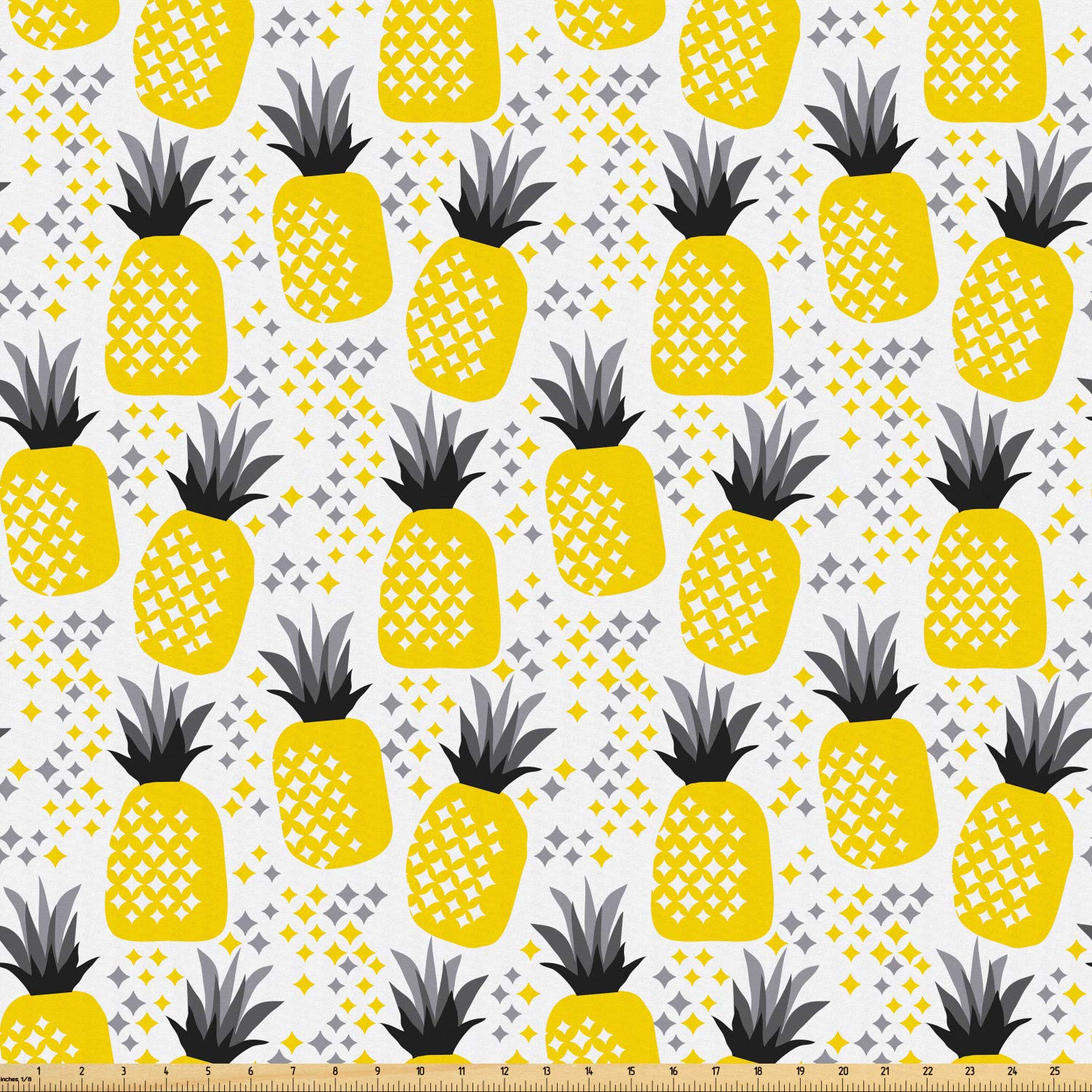 Amazon.com: Ambesonne Exotic Fabric by The Yard, Pineapples.