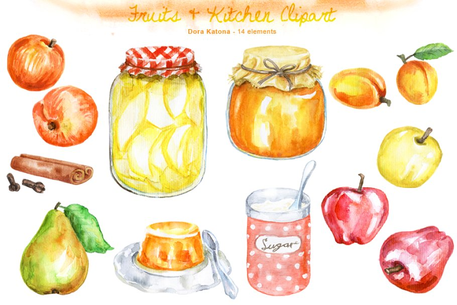 Fruits & Kitchen Clipart.