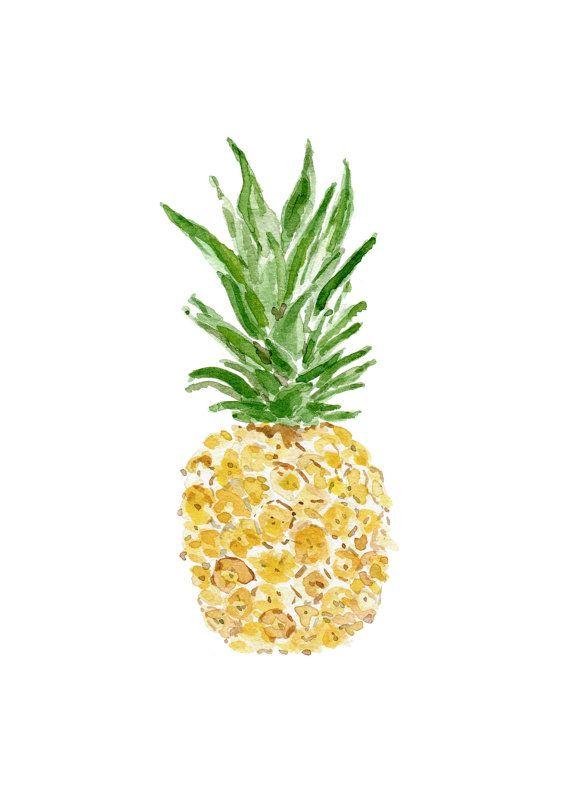 Pineapple, original watercolor painting, tropical, Green.